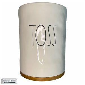 Rae Dunn TOSS Ceramic Garbage Bin in White